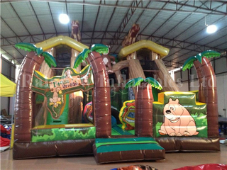 RB6037(8x7m) Inflatable Jungle Bear Customized Commercial Slide Castle For Kids