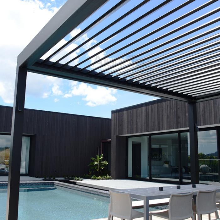 Waterproof Swimming Pool Roof Aluminum Pergola With LED Light