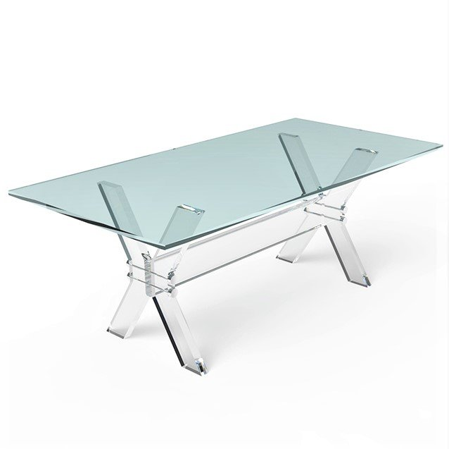 X Leg Crystal Plexiglass Dining Room Table Acrylic Dining