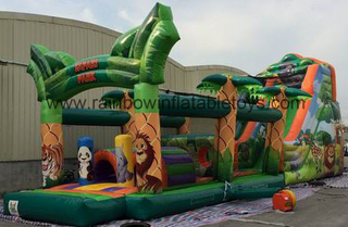 RB5056(14x4x6m) Infltable Long Jugle Theme Obstacle Course For Kids