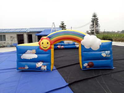 RB24004(7x4m) Inflatable Rainbow Colorful Fence For Outdoor Playground