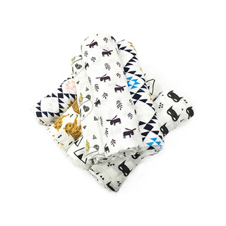 Hot sell various printing designs baby muslin swaddle blanket