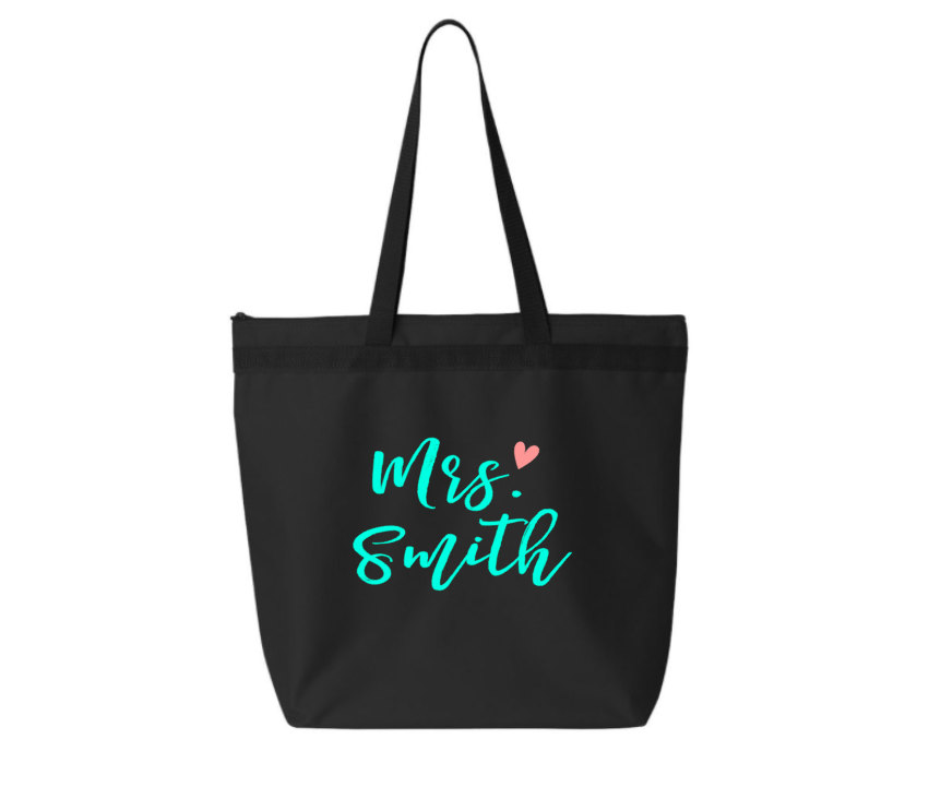 Denier Tote Bag With Zippered Closure