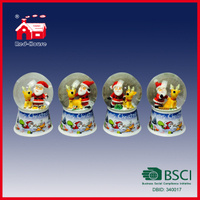 Custom Made Polyresin Souvenir Snow Globe with Santa Claus Painting Resin Base with LED Lights