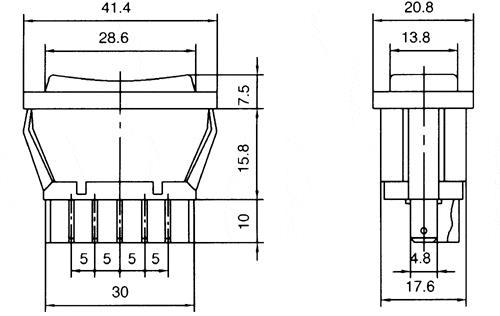 ASW-01 DPDT 5P Automotive Window Switch