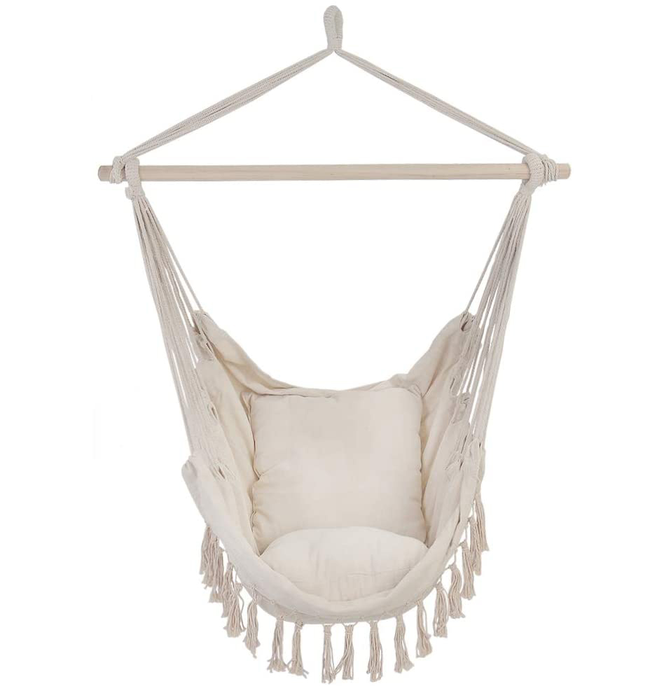 Outdoor Backyard Patio Macrame Hammock With Two Pillows/Carry bag/Hardware