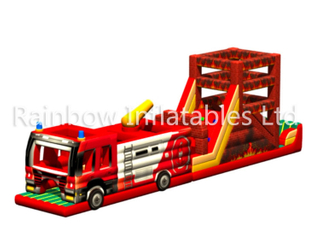 RB5201(16x2.3x5m) Inflatable hot fire engine Obstacle Course