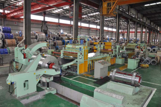 Hydraulic automatic metal sheet slitting and rewinding machine