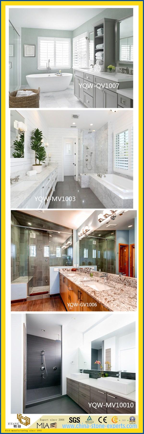Polished White Artificial Quartz Vanity Top for Home & Hotel Bathroom