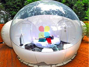 RB41054(4x6m) Inflatable clear camping bubble tent with capsule tunnel for sale