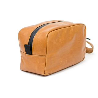 Odor Scent Proof Pu Leather Toiletry Bag with Carbon Lining