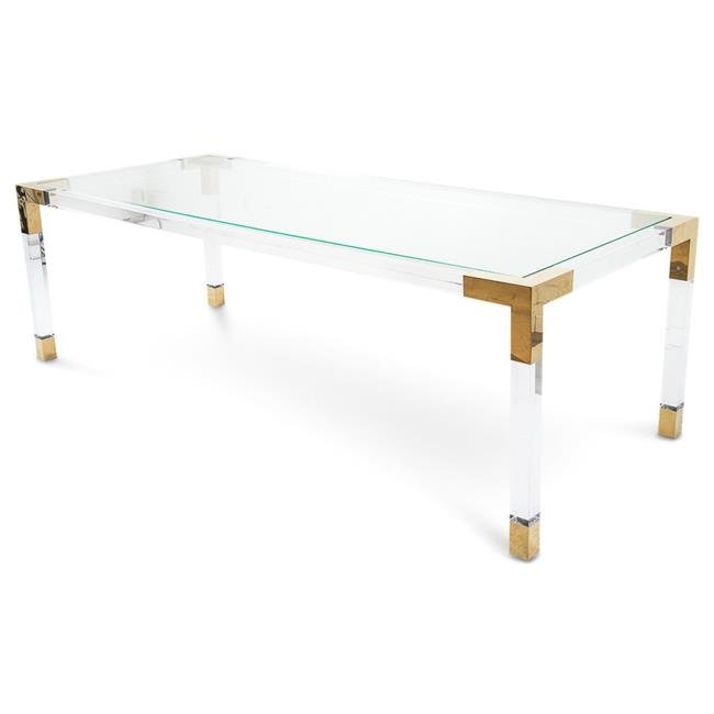 2018 New Fashion Dining Table Rose Gold Table Frame And Acrylic Legs Glass  Top Dining Table