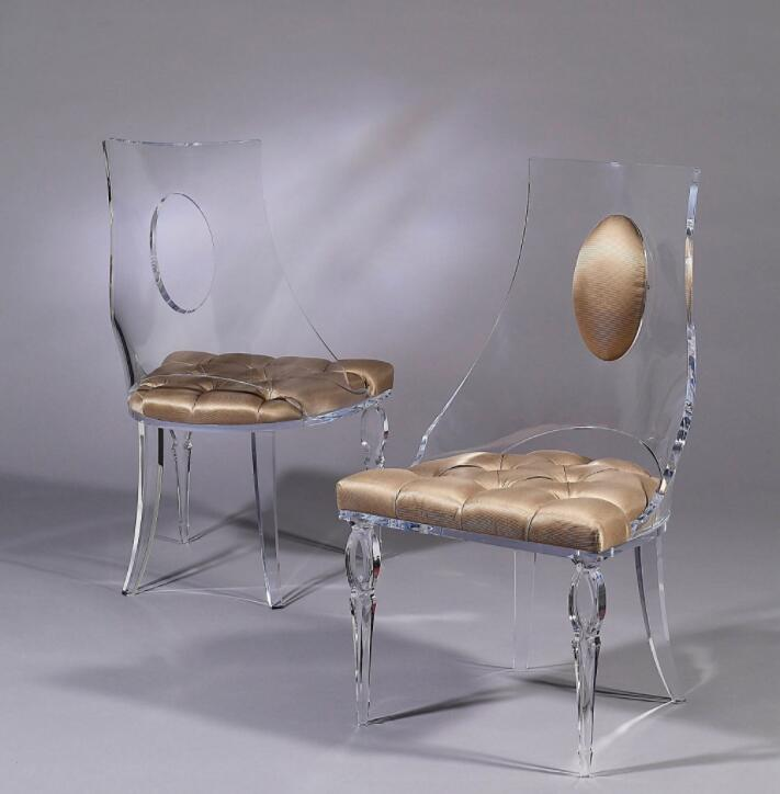 Custom Transparent Acrylic Ghost Chair Luxury Lucite Table Chair For Event  / Wedding