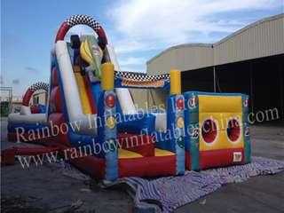 RB4115(17x7.5m) Inflatables Cute Car Race Funcity For Outdoor Playground