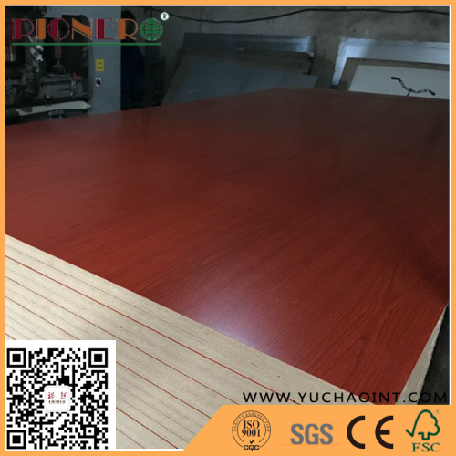 Glossy Wood Grain Cherry Melamine Faced MDF for Furniture