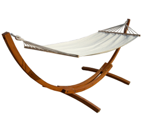 3.2M 70% Cotton 30% Polyester Hammock With Arc Wooden Stand