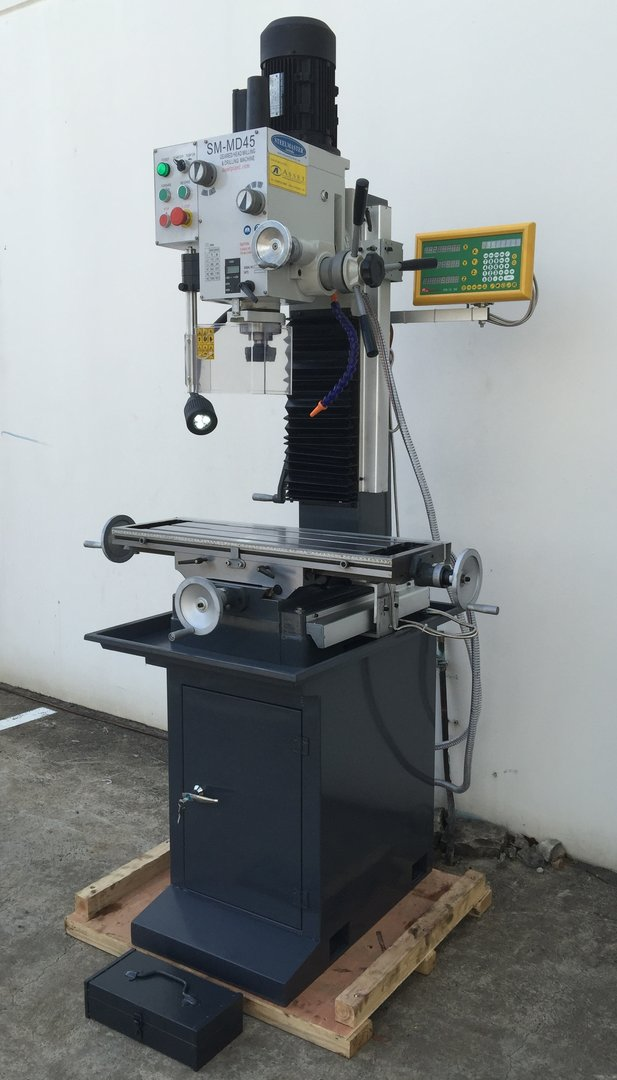 MD45. Mill Drill. Steelmaster Geared Head Drive, Dovetail Guides, Coolant, LED Work Light
