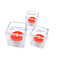 yayun hot sale 50ml 100ml 600ml clear square glass candle jars candle tumblers