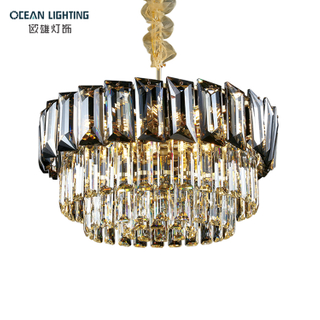 Modern Home Hotel Restaurant Round Iron E14*15 Pendant Lamp Luxury Crystal Lighting Chandelier