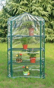 4 Layer Iron Steel Stand Clear PE Plant Flower Greenhouse
