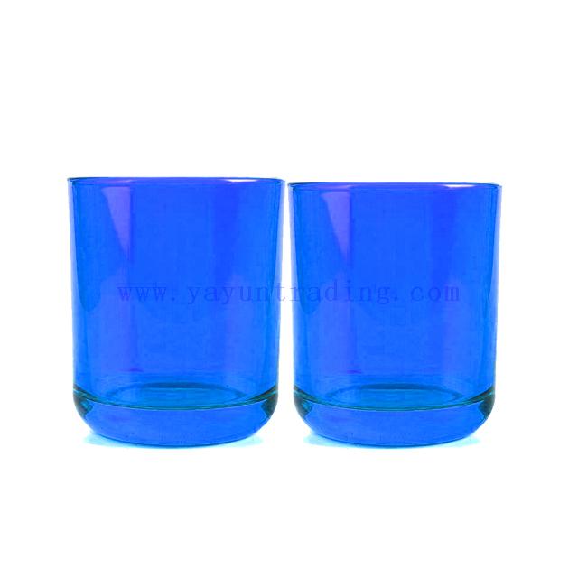 wholesale translucent cobalt blue color glass candle jar