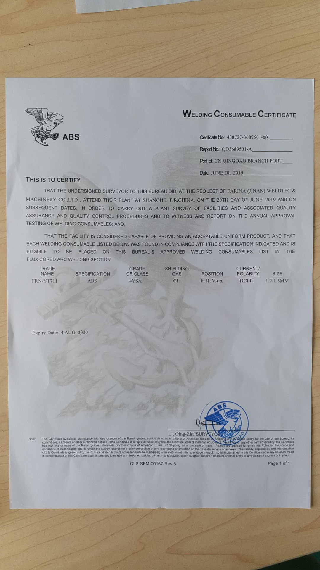 Our new ABS Certificate from USA