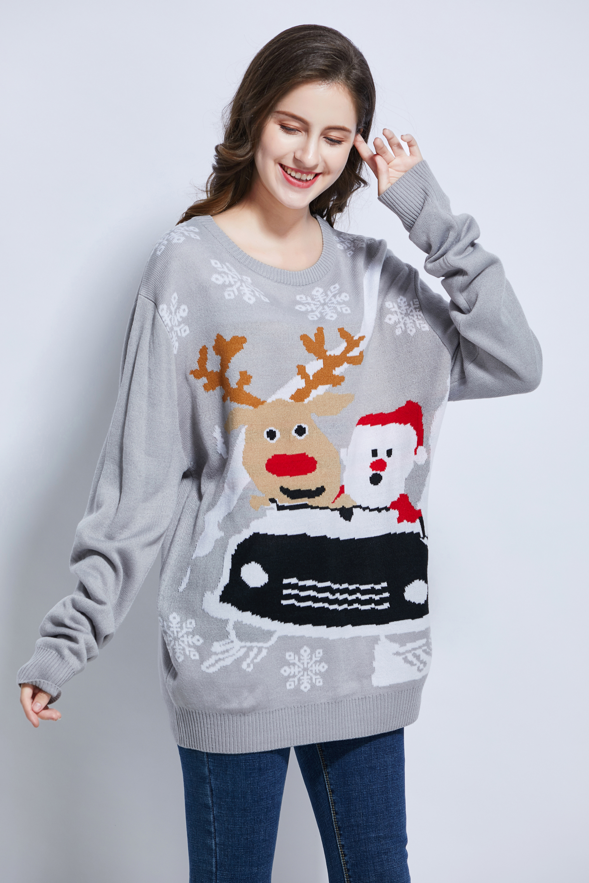 Team club player promotion theme motif jacquard unisex Christmas sweater rudolph reindeer Christmas sweater Xmas sweater