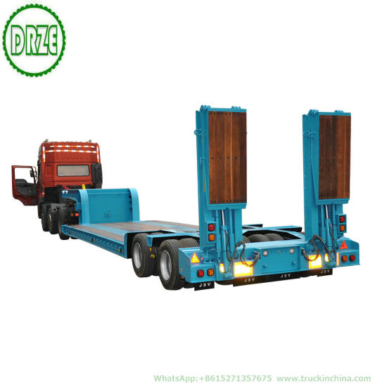 Customized 2 Axle Hydraulic Lifting Platform Lowbed Semi Trailer&Nbsp; with Hydraulic Steering Axle&Nbsp; Hydraulic Loading Ramp