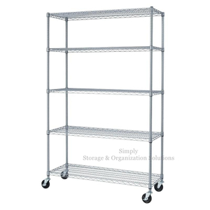 5 - Layers Galvanized Wire Shelving Metal Storage Rack Unit for Hygiene Food Storage