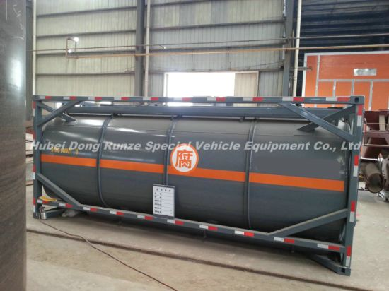 20FT Tank Container for Hydrochloric Acid, Sodium Hypochlorite Road Transportation 21cbm Export to Vietnam