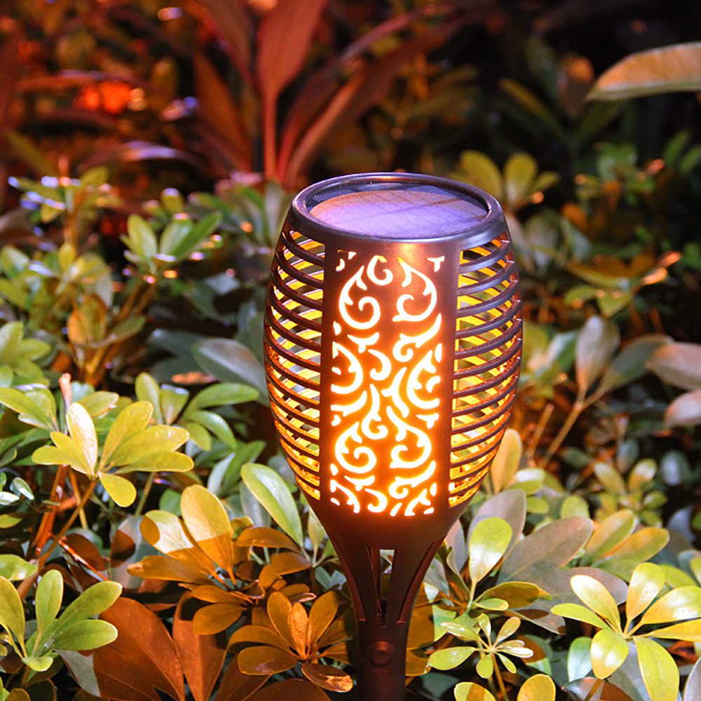 Waterproof IP65 Outdoor Solar Powered LED Garden Lamp Dancing Flickering Fire Flame 96 LED Light