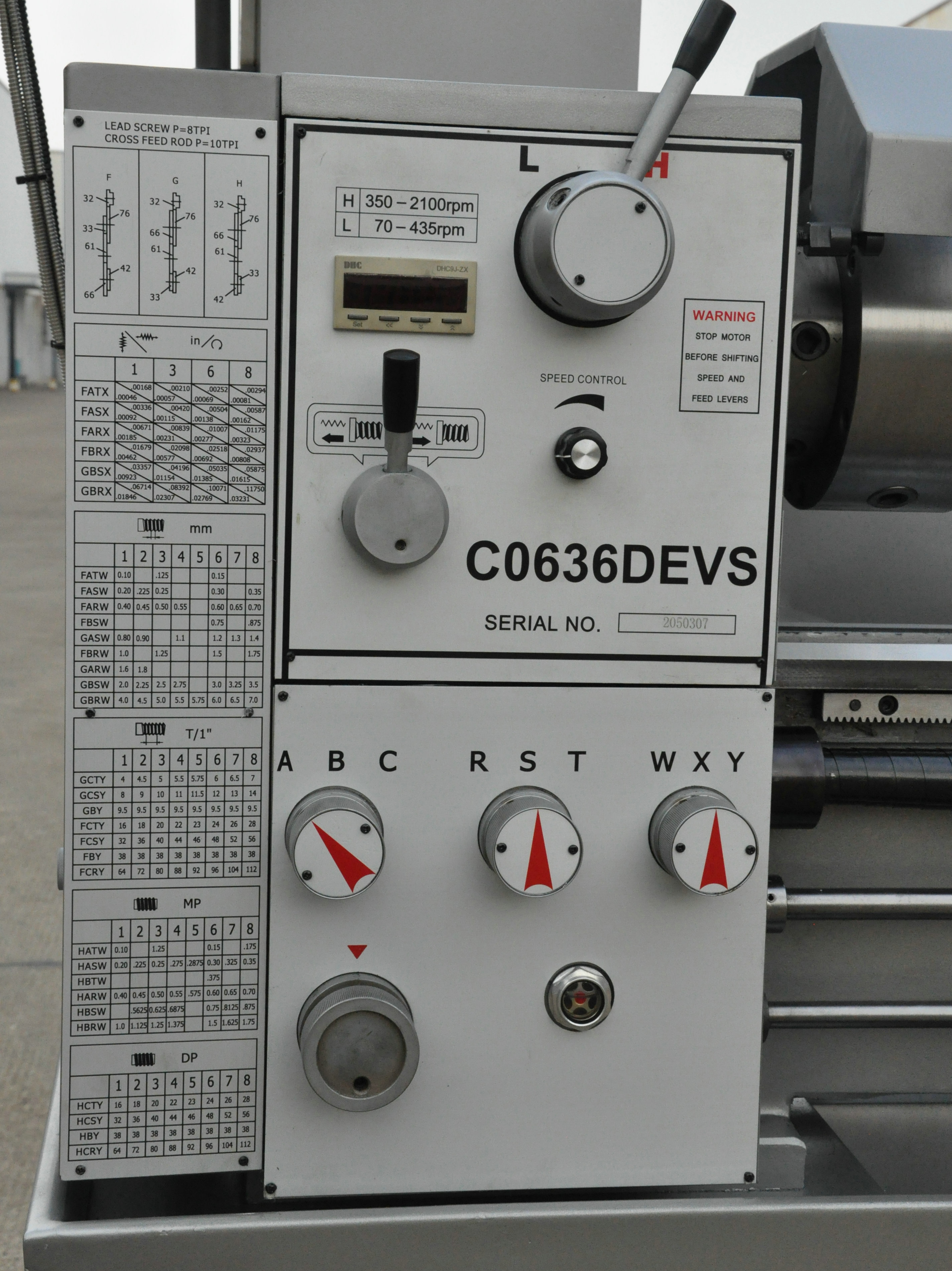 FREQUENCY INVETER VARIO DRIVE FEEDING BOX ENGINE LATHE C0636DV/1000MM
