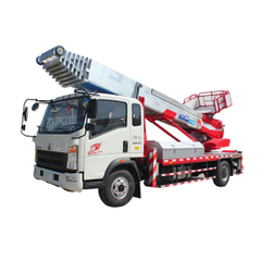 HOWO Truck Mounted Telescopic Ladder Truck for House Building Goods Lift and Download (House Furniture Moving Hydraulic 28 M Aerial Platform Ladder)