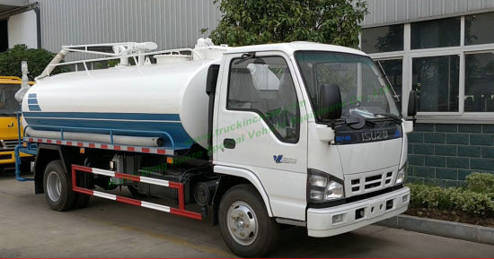 Japan Brand. Isuzu Vacuum Tanker Multifuction Septic Tank with Vacuum Pump for Sewer Cesspit Emptier with Honda Motor Water Pump for Water Bowser Sprinkler