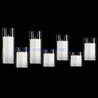high quality diameter 5cm set of 7 clear glass candle holder and container
