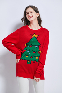 Team club player promotion theme motif jacquard unisex knitting Christmas tree red Xmas sweater