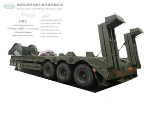 60t -80t Heavy Duty 3 Axles Lowbed Semi Trailer for Tank Heavy Track Crawler Caterpillar Digging Excavating Machine (Optional With Winch)