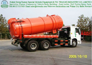 HOWO 15000 Liters Sewage Suction Tanker Truck (6X4 drive type, 266HP)