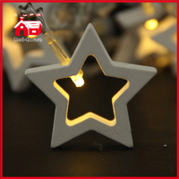 Led Battery Light Festival Light Wooden Pentagram Star Battery String Light