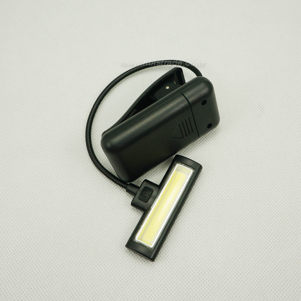 2W COB clip on book light with flexible stem reading lamp