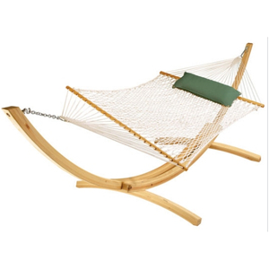 100% Cotton Hammock With Arc Wooden Frame
