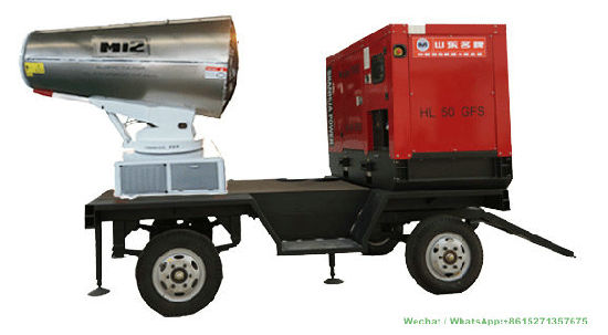 Mobile Dustfall Cannon Sprayer Water Fogging Machine Dolly (PM2.5 Dust Controller 50-120M)