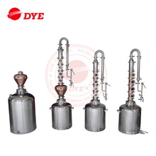 Hot sale 50L 100L 150L200L home reflux distillation equipment with 4 6 8 plate red copper stainless steel 304 coulmn