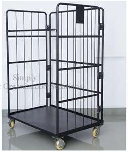 Black Electro Galvanized Nestable Roll Cage for Factory Auto Parts