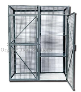 Black Metal Lockable Mesh Security Truck Double Doors for Workshop