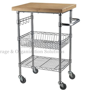 "Chrome Finish Wire Cart with Wheels Wood Shelf Use in Restaurant 21""W X 14""D X 36""H"