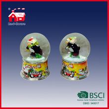 65mm Glass Water Globe Penguins Printed Base Christmas Gift Snow Globe