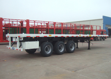40ft Fuel Saving FlatBed Semi Trailer 3 Axles , Light Dead Weight Flatbed Trailer