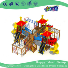 Large Outdoor Wooden Playground with Slides for Kids (BG-171008-B1)