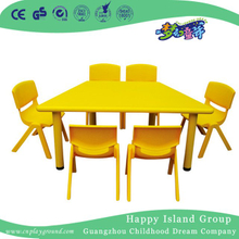 School Unique Yellow Trapezoidal Plastic Table for Toddler (HG-5105)
